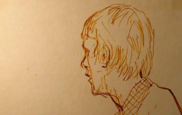 Józef Czapski, dessin, feutre marron, portrait de Henryk