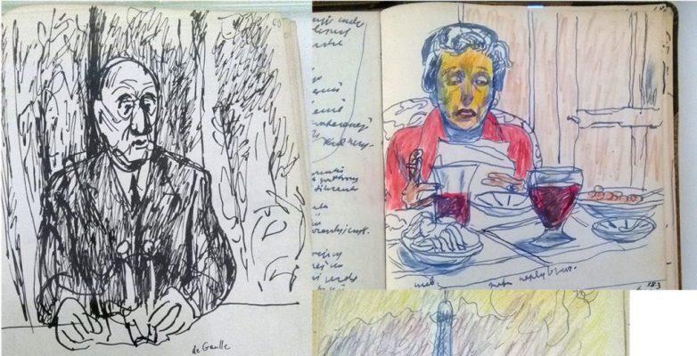 dessins en couleur dans le journal de Czapski