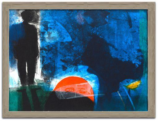 image colorée du soleil bleu et rouge