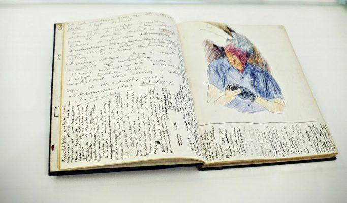 41/5000 photographie couleur, cahier avec notes