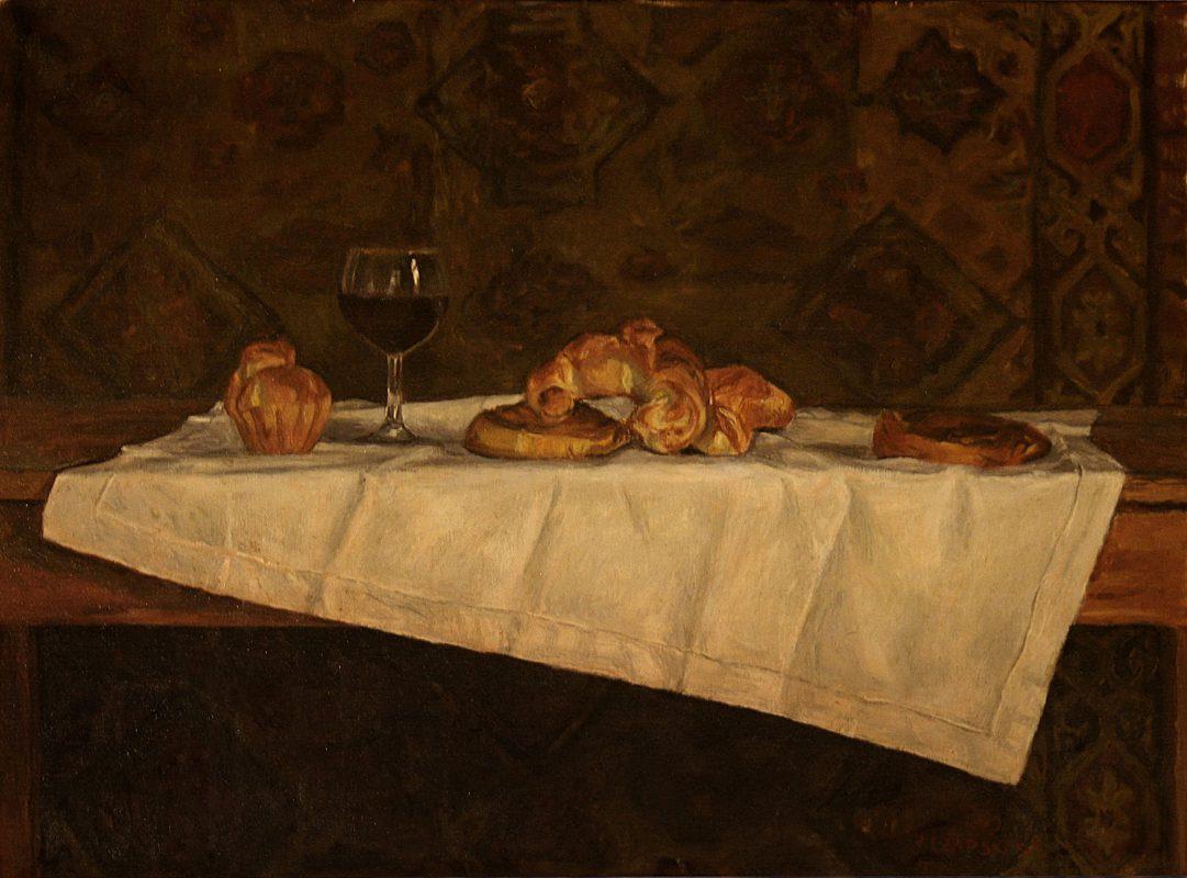 nature morte, croissant, vin, verre, image couleur marron